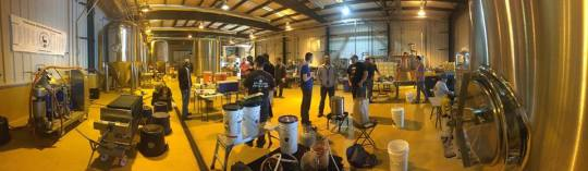 Panoramic shot of DOH! members participating at the American Homebrewers Association Big Brew Day held at Old Bust Head Brewing Company in Warrenton, VA.